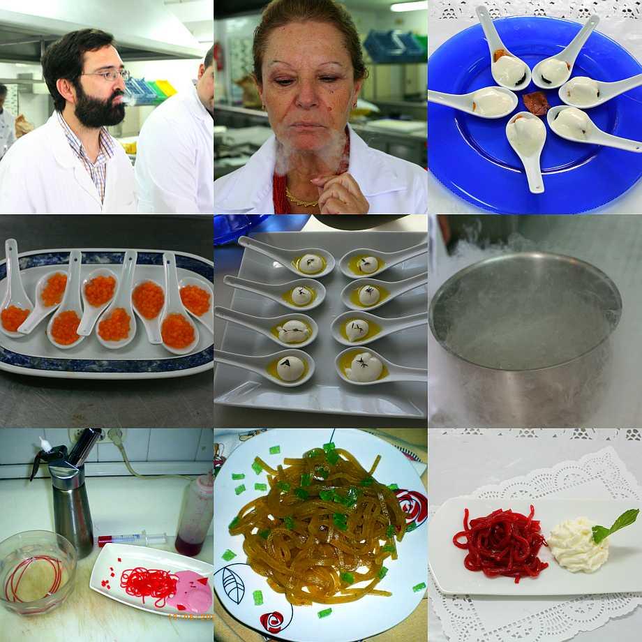 """Diversos momentos del primer curso para profesores de """"Gastronomía Molecular"""""""