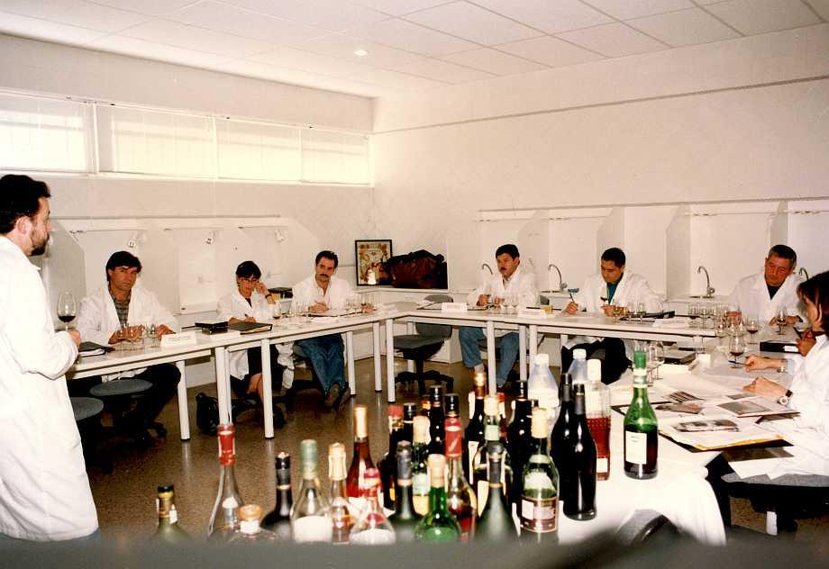 Paco del Castillo, en un curso de formación del profesorado, sienta las bases metodológicas para el aprendizaje del análisis sensorial. Habrán de pasar muchos años, y abrir muchas botellas, para alcanzar un nivel aceptable para un profesor de Hostelería.